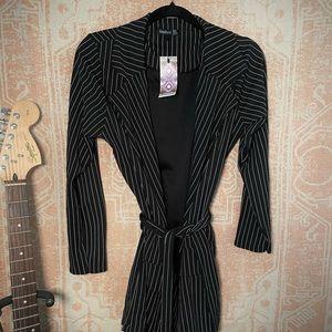 Boohoo pinstripe belted tie blazer